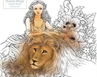 Digital Stamp - Instant Download - Greek Mythology - Circe Lounging with Lion and Flowers - digistamp - Fantasy Line Art for Cards & Crafts