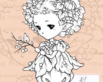PNG Digital Stamp - Whimsical Autumn Sprite - Instant Download - Nature Fairy Fantasy Line Art for Cards & Crafts by Mitzi Sato-Wiuff