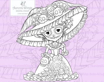 PNG Digital Stamp - Day of the Dead Sprite - Instant Download - Catrina Doll Fantasy Line Art for Cards & Crafts by Mitzi Sato-Wiuff