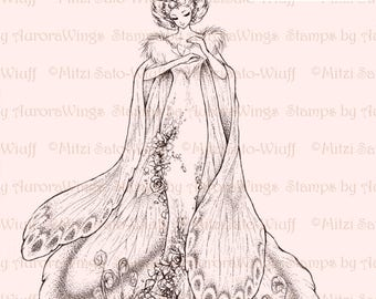 Digital Stamp - Instant Download - Queen Moth Figure Only - Fairy with Flowers - Fantasy Line Art Digi for Arts and Crafts - AuroraWings