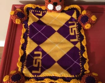LSU Tiger Lovey/Security Blanket (Crocheted)