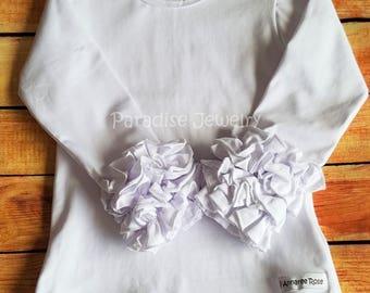 Ruffle Layering Shirt Little Girls Top White Tee Ruffle Shirt Girls Tee White Top Plain Layering Shirt Boutique Clothing White T-Shirt