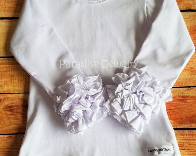 Featured listing image: Ruffle Layering Shirt Little Girls Top White Tee Ruffle Shirt Girls Tee White Top Plain Layering Shirt Boutique Clothing White T-Shirt