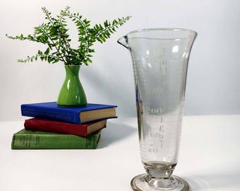 Antique Large Glass Apothecary Photography Pitcher / Beaker - Handblown Etched Vintage Measuring Chemistry Lab - Hand Blown Glass Signed