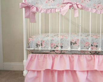 Vintage Shabby Chic Roses Floral Pink Gray Baby Girl Crib Cot Bedding. Pink and Gray Nursery.