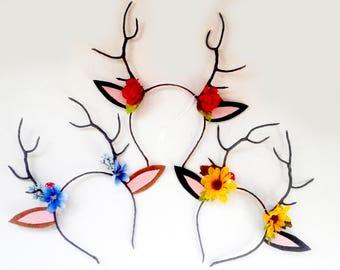 Flower Deer Antler Headband: MADE TO ORDER