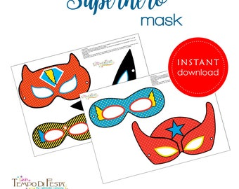 Superhero  Mask Printable   INSTANT DOWNLOAD