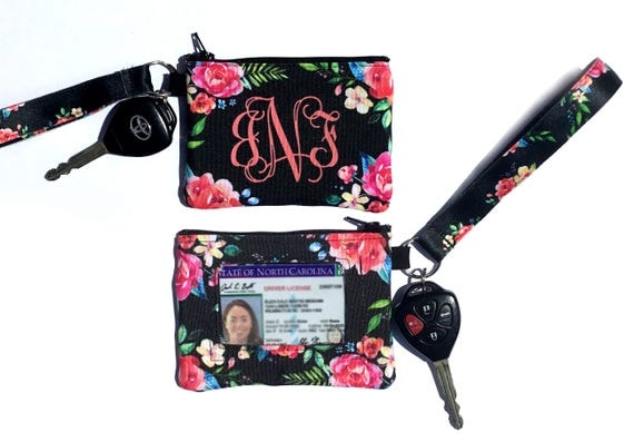 Classy Black Floral ID Wallet Monogram Key Chain Key Fob Coin Purse Key Chain Zipper Wallet Personalized Key Fob Wristlet Car Accessories