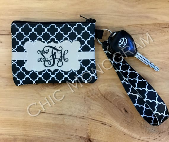 Black Quatrefoil Monogrammed ID Wallet Monogram Key Chain Key Fob Zipper Wallet Personalized Wristlet Badge Holder ID Holder Car Accessories