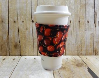 Fabric Coffee Cozy / Cherries Coffee Cozy / Food Coffee Cozy / Coffee Cozy / Tea Cozy