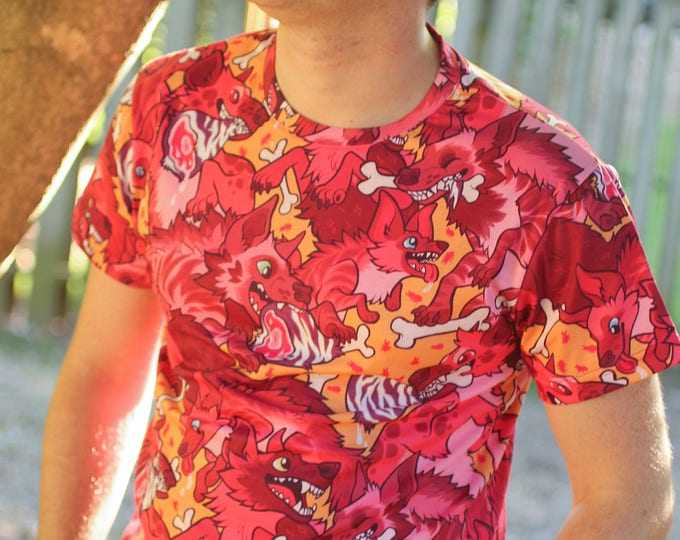 All Over Patterned Hyena Tee Shirt