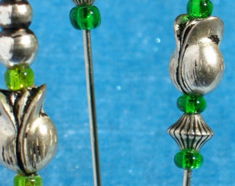 Silver Metal and Green Glass Bead Hat Pin. Made in Oregon