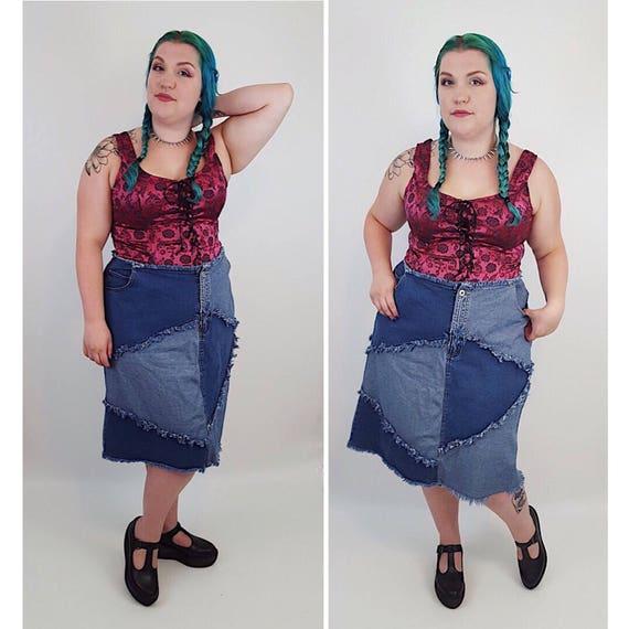 90s Vintage Denim Blue Jean Mini Plus Size XXL Miniskirt - Womens 1990s Fashion Patchwork Dark and Light Wash Denim Grunge Skirt size 22