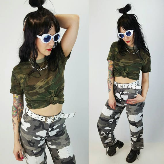 80's Mesh Short Sleeve Camo T-Shirt Small - Vintage Distressed Camouflage Shirt - Green Brown Comfy Sheer Holey See Through Tee