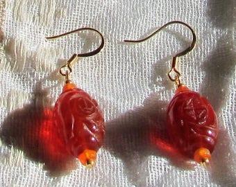 Warm Carnelian Asian Lantern Earrings