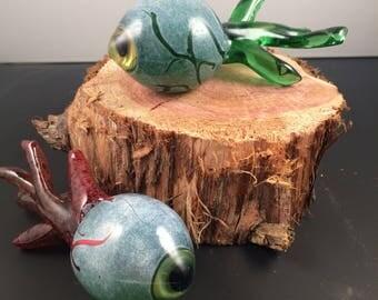 Hand Blown Glass Halloween Zombie Eyeball Sculpture