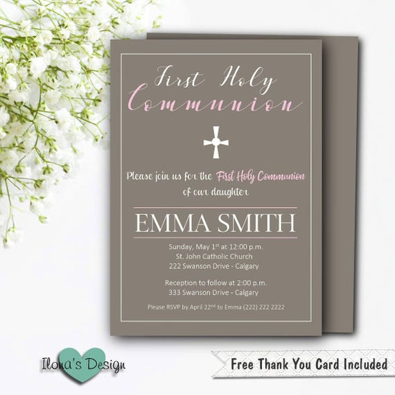 First Communion Invitation Girl Printable Gray Communion