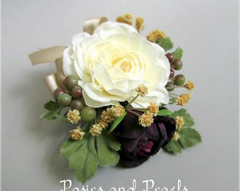 """Silk Camellia Flower Corsage with Ranunculus, Baby's Breath, and Berries, in Cream, Champagne Tan, Plum Purple, Pin On Style, """"Delilah"""""""