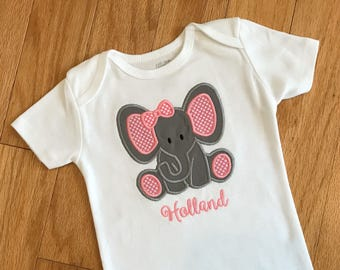 Girl's Elephant Onesie, Personalized Infant Bodysuit, Zoo, Safari, Jungle Animal, Embroidered Name, Baby Shower Gift, Birthday Party Outfit