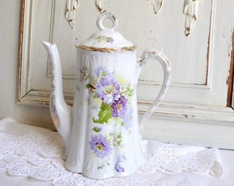 RESERVEDAntique French shabby chic purple flowers Limoges porcelain teapot