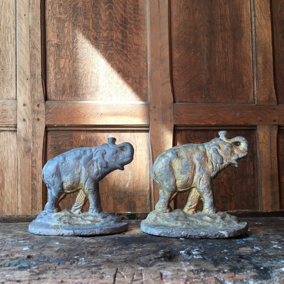 Vintage Elephant Bookends, Metal Cast  Lead Bookends, Gold Industrial Office Decor, Lead Ignot