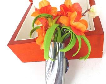 Silver flatware vintage knife Groom boutonniere magnetic flower corsage lapel pin. Silver flatware flower vase, Orange and offwhite floral d