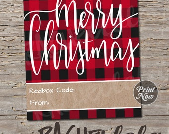 Redbox Code Gift Tag, Red plaid, digital, instant download