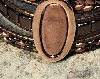 SALE: Center Copper Disc Slider, 10mm opening,  10mm Flat Leather Cord Finding, Ring disc