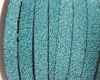 "40"" Turquoise Caviar Sparkle 10mm Flat Synthetic Leather,"