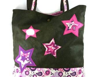Soft tote bag, handbag, kaki/brown simili used leather + pink/purple cotton fabrics.