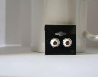 10mm Brown Eyes Stud Post Earrings