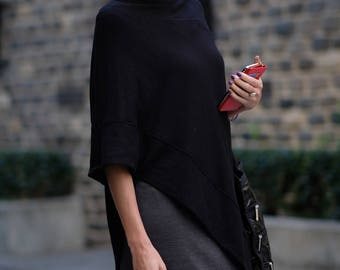 One Size Black Poncho / Sweater Poncho Wrap / Womens Spring Clothing / Women Ponchos / Lightweight and Soft / Gift Idea