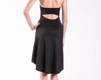 Tango Dress / Black Dress / Halter Dress / Tango Clothing / Sleeveless Dress / Cocktail Dress / Open Back Dress / Party Dress
