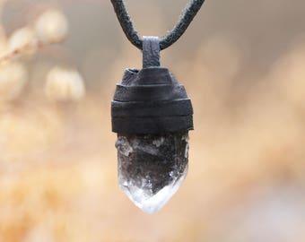 Tibetan Smokey Quartz Leather Wrap Necklace