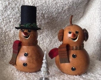 Snowman and/or Snowlady Natural Gourd With Tea Light