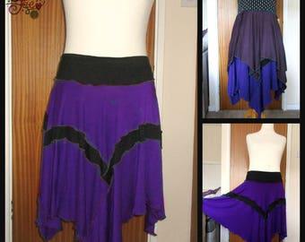 Plus size xl xxl 20 22 24 2x 3x purple black skirt patchwork hanky hem handmade pointy pixie hem hippie goth punk alternative clothing large