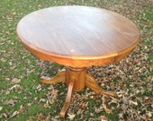 RESERVED -Vintage Round Oak Table, Pedestal, Table with Insert, Oval, Paint to Order, Custom Painted Table, Farm House, Expandable Table