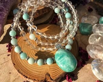 AMAZONITE & QUARTZ Meditation Mala | 108 MalaBeads | Genuine Clear Quartz Crystal Healing Om Mala | Heart Chakra Yoga Prayer Beads with OM