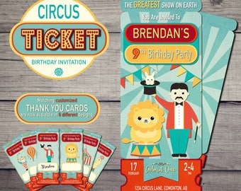 Circus Ticket Invitation, Carnival Party Invitation, Circus Birthday Invitation, Circus Birthday Invite, Circus Birthday Party Thank You