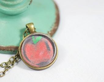 Teacher Apple Jewelry. Chalkboard Background. Best Teacher Gift. Teacher Appreciation Gift. Apple Pendant. Teach Love Inspire Educators Gift