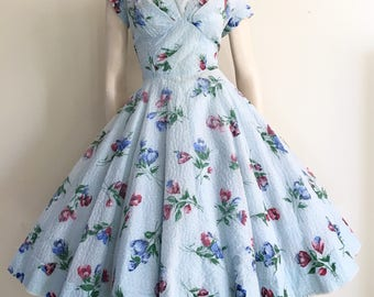 RESERVED   50s 60s Blue Floral  Party Dress / Full Skirt / Large / Garden Party