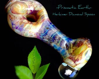 Prismatic Earth- Herkimer Diamond Shimmering Glass Spoon; Functional Glass Art; Rainbow Glass; Psychedelic Glass; Heady Honeycombed Spoon