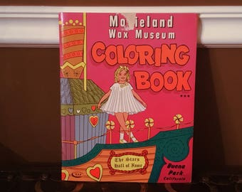 MOVIELAND WAX MUSEUM Coloring Book 1966 Vintage