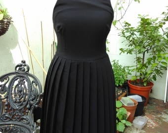 Gothic Deandri Maria Dress with pleated skirt and buckle straps. Made in LA. Size XS