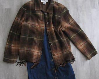 Vintage Brown Plaid Jacket - Womens - size 8 - Medium