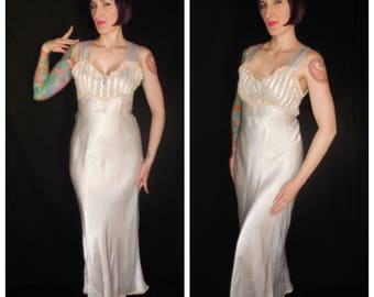 Vintage 1930's Pale Powder Blue Satin Lace Nightgown Slip Dress - size Medium