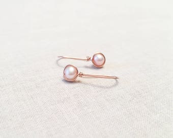 Rose Gold and Blush Pearl Drops - 14k Rose Gold Fill Wire Wrapped Light Pink Freshwater Pearls Tiny Modern Bridal Wedding Earrings Feminine