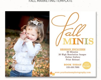 Fall Templates Photography, Fall Photo Session Template, Fall Mini Sessions Template, Marketing Board for Photographers, Fall Ad, m159
