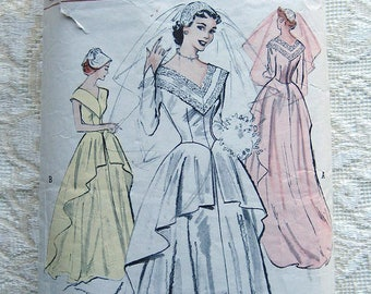 Vintage 50's Bridal Gown Deep Vee Neck, Tiered Peplum Skirt. Butterick Sewing Pattern 5714 Size 14 Bust 32""