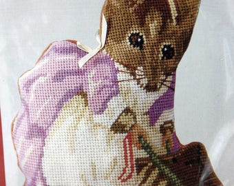 Beatrix Potter Needlepoint Decorative 8x10 Pillow Kit Adorable Hunca Munca NEW by Needle Treasures